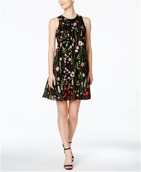 Ck Trapeze calvin klein floral embroidered trapeze dress dresses