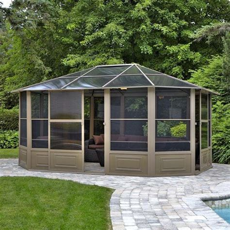 12 x 15 gazebo gazebo penguin brown metal octagon screened gazebo