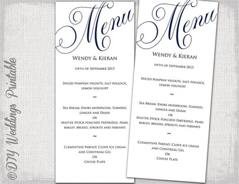 free printable menu templates for wedding wedding menu template navy blue wedding menu diy wedding menu
