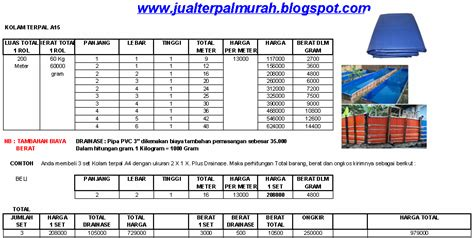 Harga Terpal Kolam 2 3 jual terpal murah daftar harga kolam terpal a15