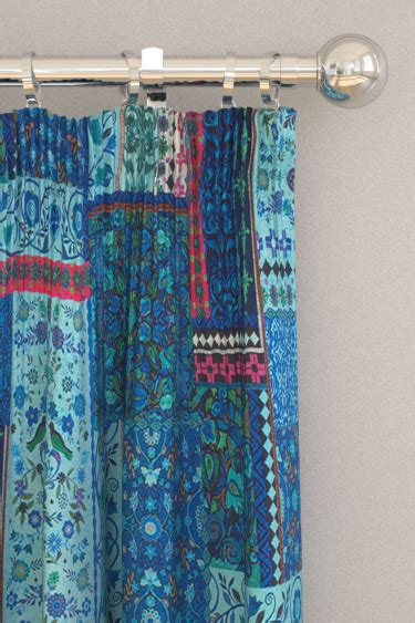 Blue Patchwork Curtains - folklore blue pink pencil pleat curtains by