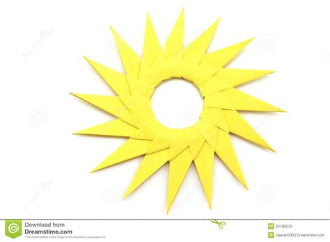 How To Make A Paper Sun - origami yellow paper sun stock photography image 32189272