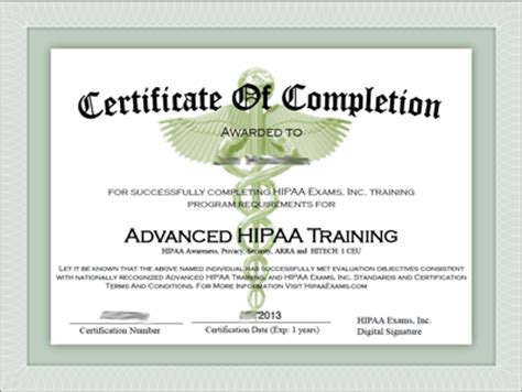 hipaa certificate template javapda advanced hipaa certificate of completion