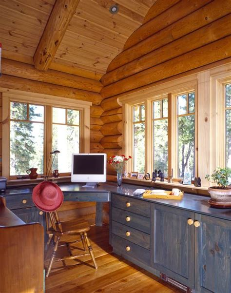 log cabin decorating ideas dream house experience log home office i like the build in idea for my craft