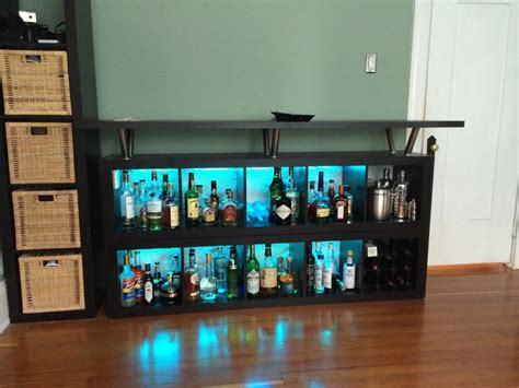 Expedit home bar: Add light and texture!   IKEA Hackers