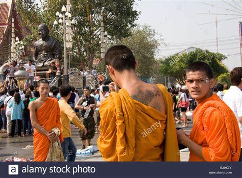 tattooed monk buddhist monk stock photos buddhist monk