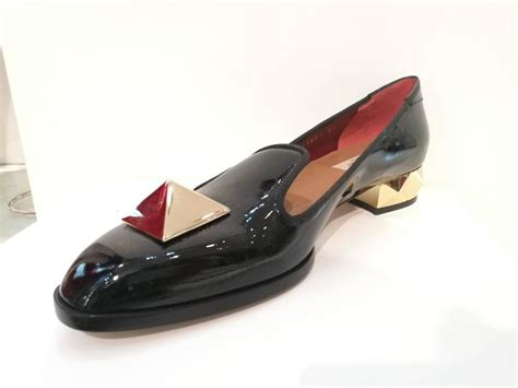 black loafers with gold studs valentino black leather gold studs loafer for sale at 1stdibs