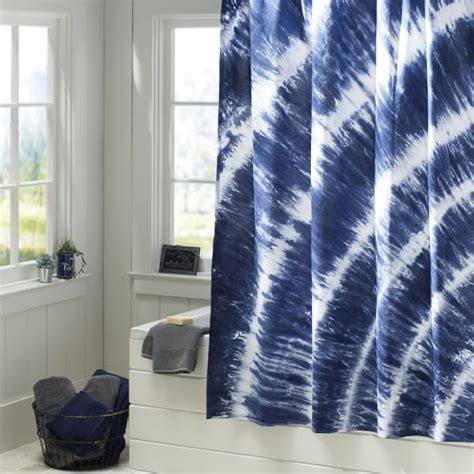 Tie Dye Sheer Curtains Tatum Tie Dye Shower Curtain Navy Pbteen