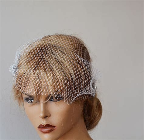 Wedding Hair Cage Veil by Wedding Hair Accessory Bridal Veil Bandeau Birdcage Veil