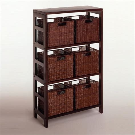 Shelf With Storage by Its Three Sections Hold The Espresso Large Storage Basket