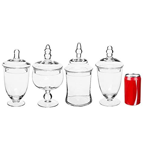 Set Of 4 Clear Small Glass Apothecary Jars Wedding Candy Where To Buy Jars For Buffet