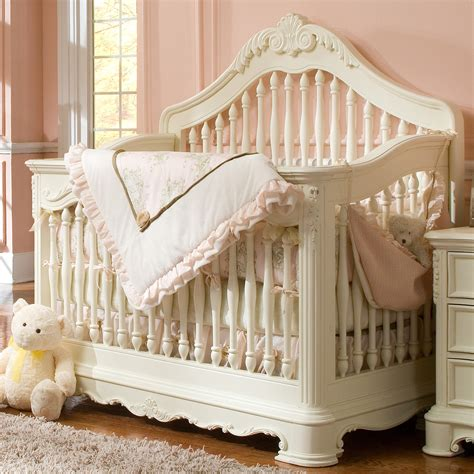 Decorative Baby Cribs With Nice Bedding With White Fur Rug Designer Convertible Cribs