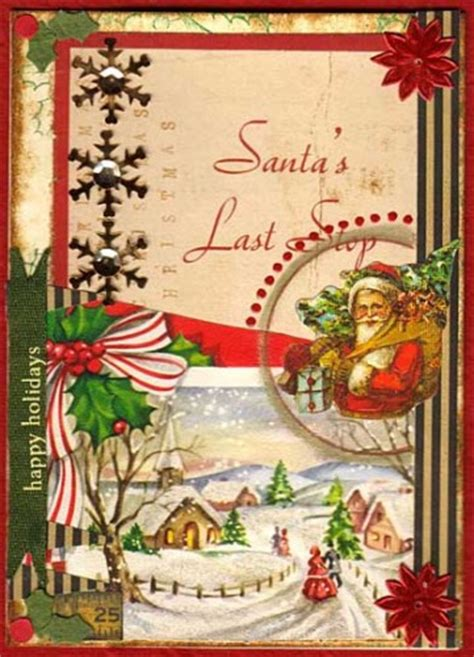 altered vintage christmas cards
