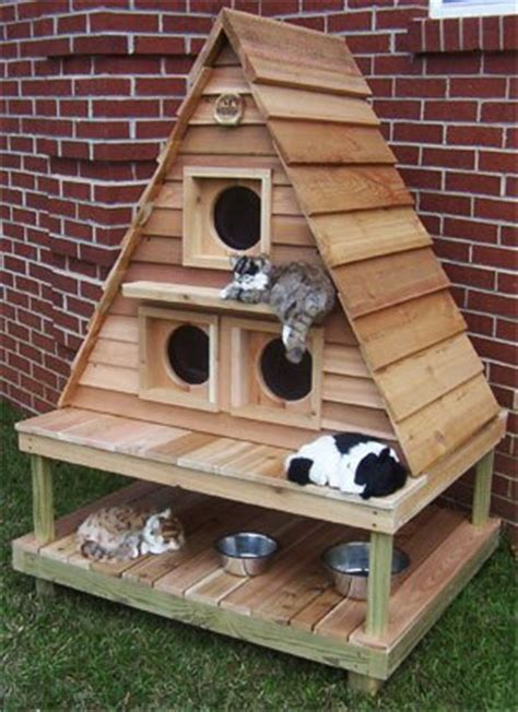 outdoor cat houses for multiple cats outdoor cat cottage triplex home design garden architecture blog magazine