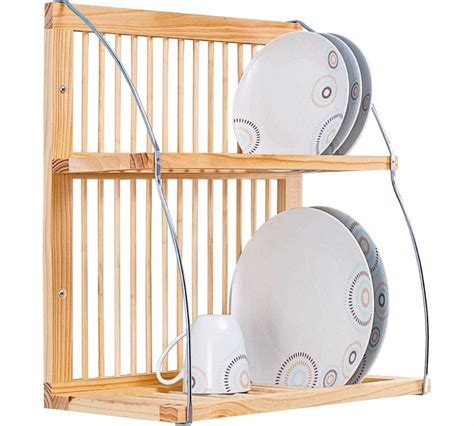 wooden plate rack stand kitchen shelf wall mounted holder
