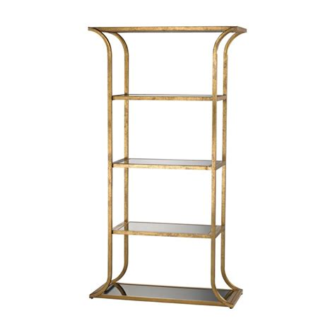 etagere real dimond home petronas etagere in antique gold leaf and