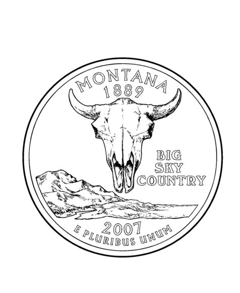 coloring page quarter usa printables montana state quarter us states coloring