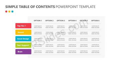 Simple Table Of Contents Powerpoint Template Pslides Powerpoint Table Of Contents Template