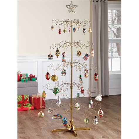 digital metal christmas the 6 rotating ornament display tree hammacher schlemmer