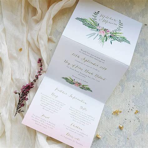 red and pink polka dot tri fold wedding invitation sugar crush