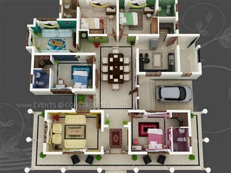 big house with colour coded rooms 4 bed 4 bath sims