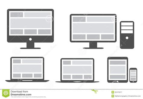 responsive design grid layout responsive grid and web design in simplified icons royalty