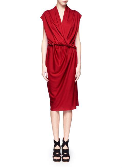 drape jersey dress lanvin wrapped front draped jersey dress in red lyst