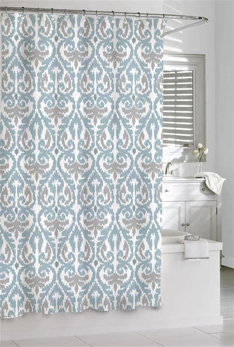 aqua and grey curtains shower curtain aqua grey scrolled ikat design