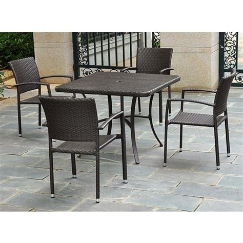 Patio Chairs Sold Separately 39 Quot Wicker Dining Table In Chocolate 4206 Sq Ch
