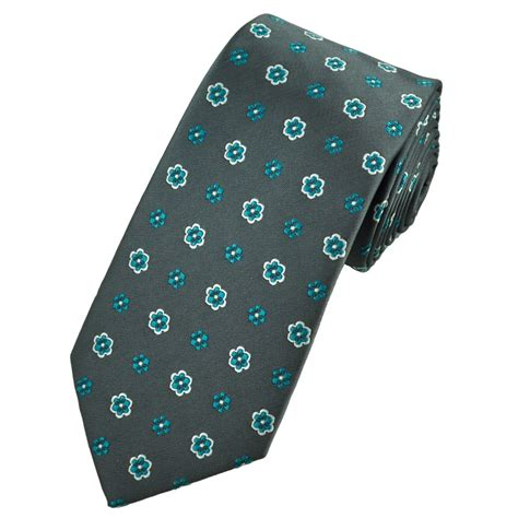 grey pattern tie grey turquoise white floral patterned tie from ties