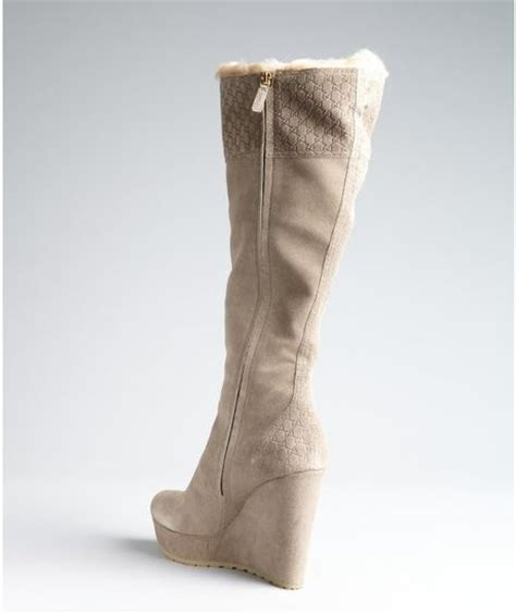 gucci grey suede and fur lined wedge boots in beige grey