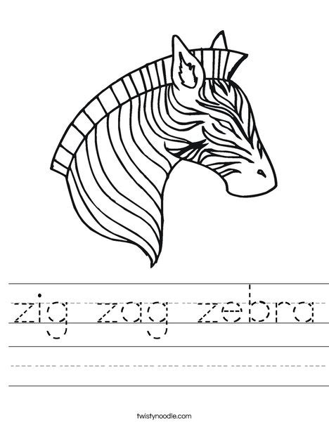 coloring pages for zigzag zig zag zebra worksheet twisty noodle