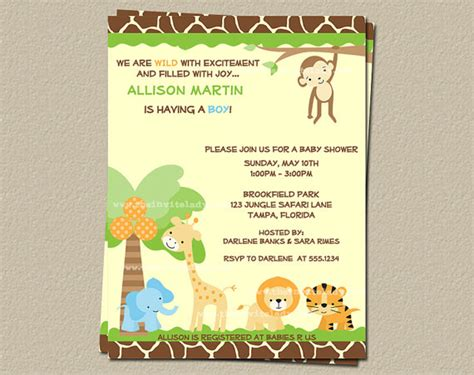 safari theme baby shower invitations template best