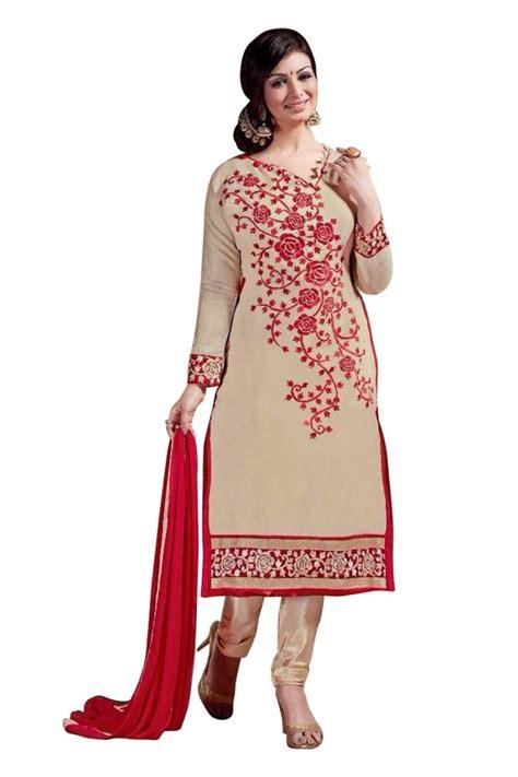 dress design in white colour shop beige colour chanderi embroidery designer dress