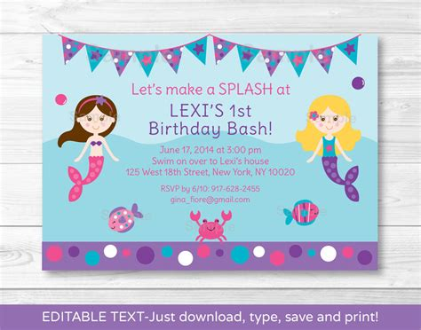 free birthday invitation pdf mermaid printable birthday invitation editable pdf ebay