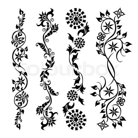 pattern vector motifs set swirling decorative flower ornament motif pattern