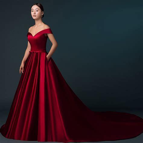 Aliexpress.com : Buy Chapel Train Wine Red Satin Wedding