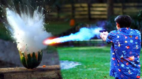Backyard Scientist Shooting Watermelons With Exploding Sodium Bullets