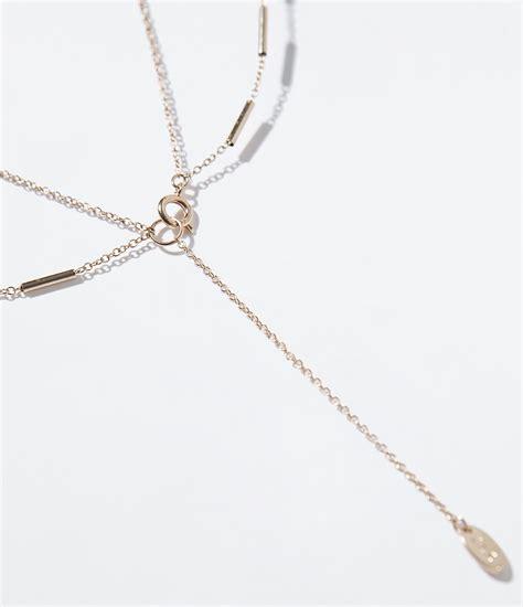 Kalung Zara Claris Necklace Grey zara chain necklace in gold golden lyst