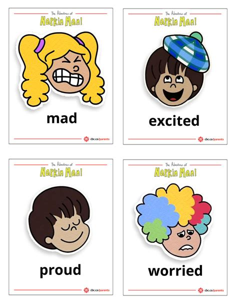 printable feelings flashcards for toddlers printable napkin man emotion flash cards kids learning