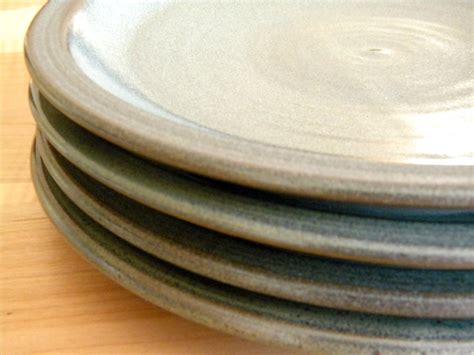 Handcrafted Plates - set of 4 slate grey dinnerware plates 10 made