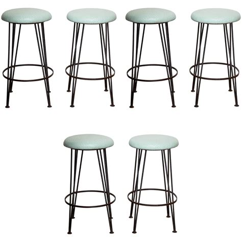 bar stool tops sale set of six wrought iron bar stools with mint green ostrich