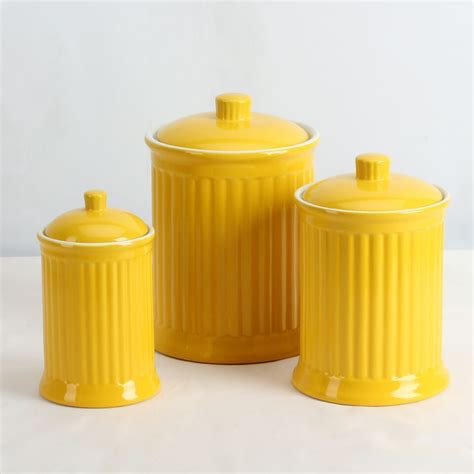 yellow kitchen canisters simsbury ceramic canister set of 3 in yellow by omni