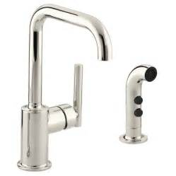 kohler purist kitchen faucet shop kohler purist vibrant polished nickel 1 handle high