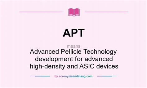 appartment abbreviation apt advanced pellicle technology development for