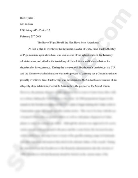 Bay Of Pigs Essay bay of pigs essay doc history 104 with clemens at rutgers new brunswick