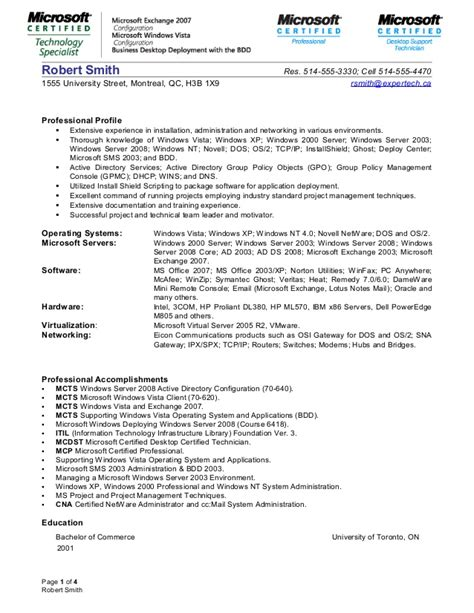 exchange server administrator resume format systems administrator resume