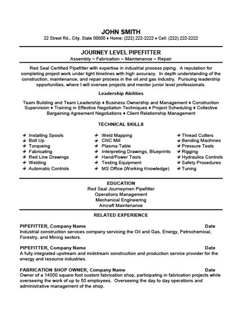 pipefitter resume sles free excel templates