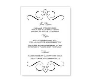 wedding menu sles templates best photos of menu templates free wedding menu