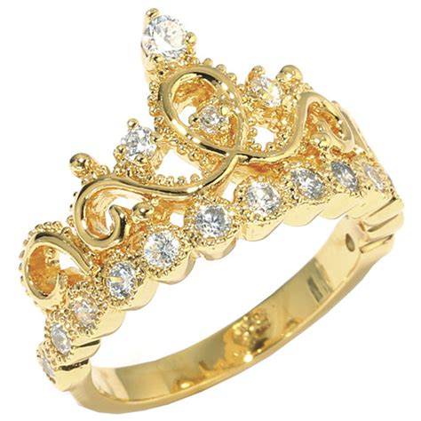 14k yellow gold princess crown cz ring crown rings